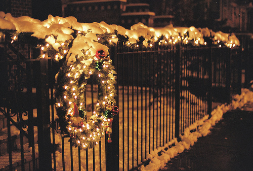 Lit Gate Christmas Wreath Pictures