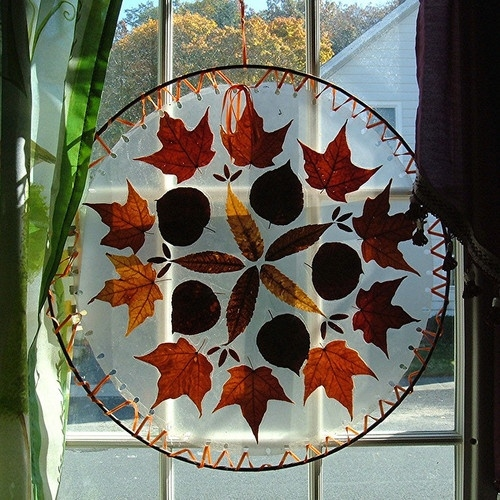 Autumn leaves for window decoration pictures photos and for Autumn window decoration