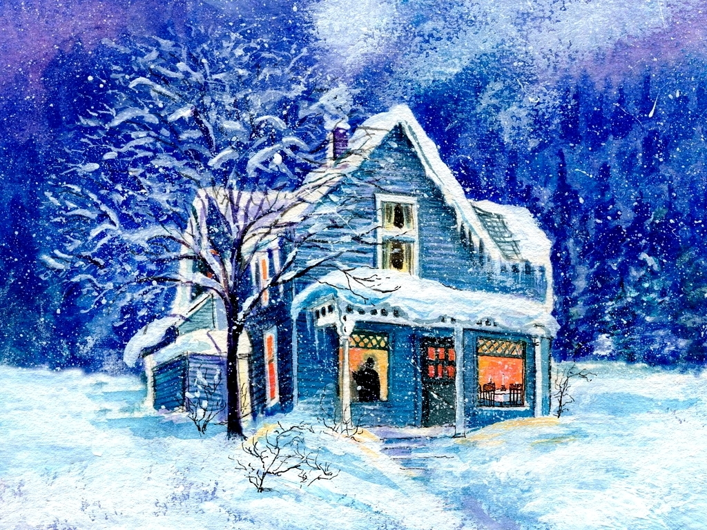 blue christmas house - Christmas House Pictures