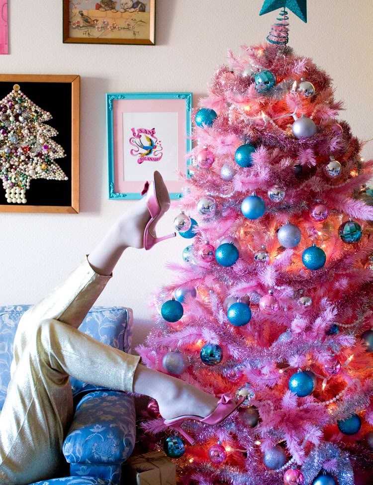 Pink christmas tree pictures photos and images for - Pink and blue christmas tree ...