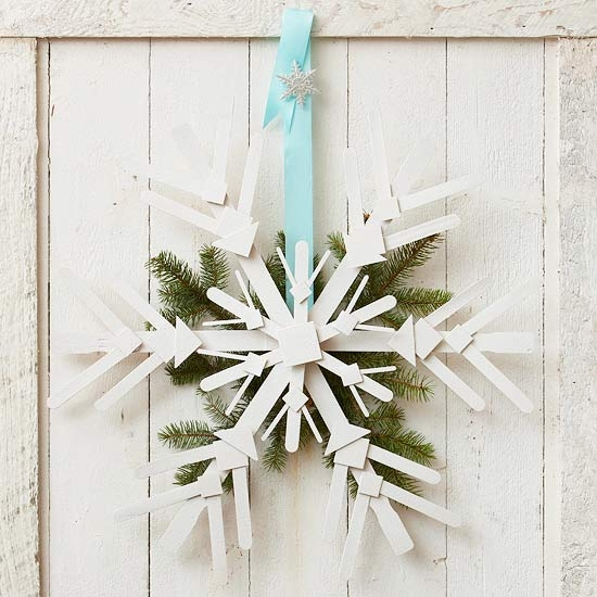 Wooden snowflake door decoration pictures photos and