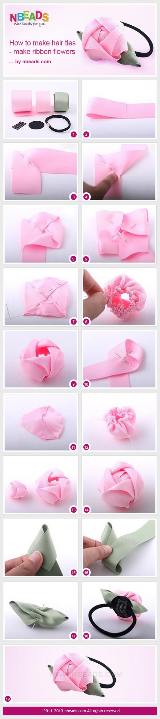 How to Make Hair Ties - Make Ribbon Flowers