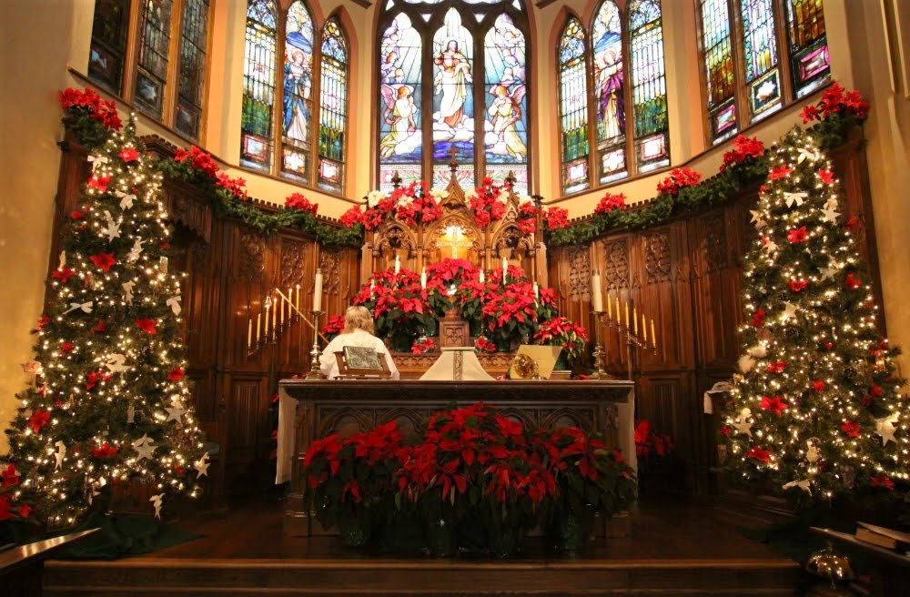 church altar at christmas