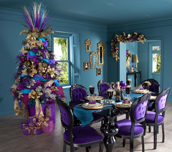 vibrant purple turquoise christmas