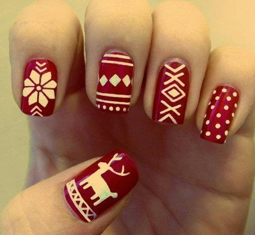 All the nails have been painted in a matte Maroon Coloured base coat.  However, the motifs on each nail have been done differently since you want  precise ... - 16 Gorgeous And Easy Nail Art Ideas For Christmas – Christmas