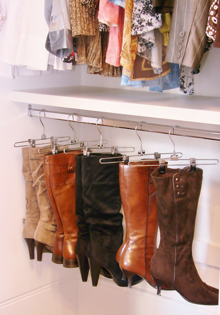 use pant hangers to organize your boots