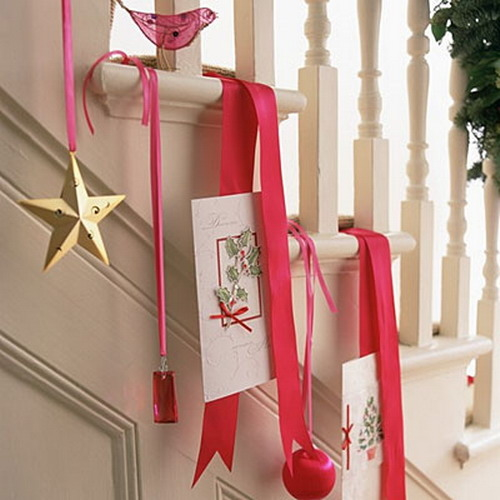 100 Awesome Christmas Stairs Decoration Ideas: Ribbon Hanging Items Pictures, Photos, And Images For