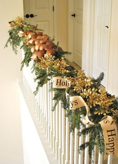 Happy holidays banister decor pictures photos and images for Decoration interne