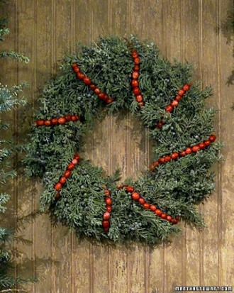 Cranberry string wreath