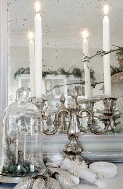 Silver candle holder pictures photos and images for for Decoration table noel