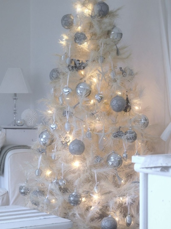 White tree with silver ornaments pictures photos and for White xmas decorations