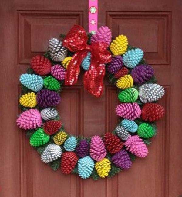 Colorful Pinecone Wreath Pictures Photos And Images For