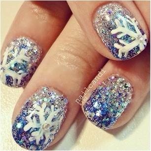 snowflake glitter nail art pictures photos and images