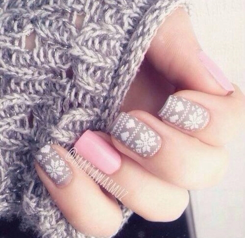 Pink and grey snowflake nail art - Pink And Grey Snowflake Nail Art Pictures, Photos, And Images For