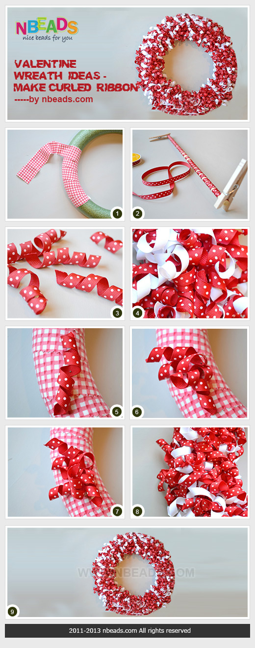 Valentine Wreath Ideas - Make Curled Ribbon