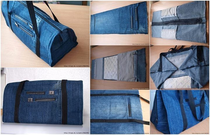 DIY Recycle Old Jeans to Zippered Bag