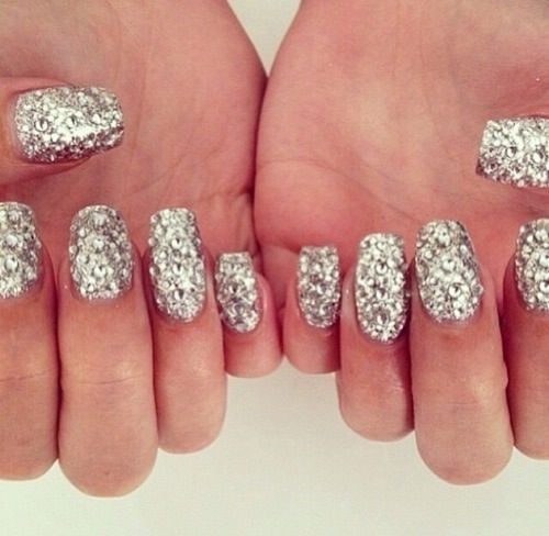 Sliver Diamond Glitter Nails Pictures, Photos, and Images for ...