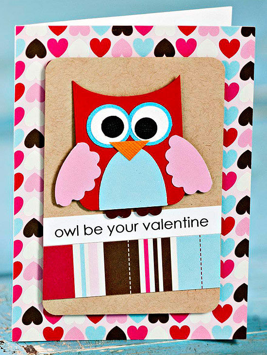 Cute owl valentines day card