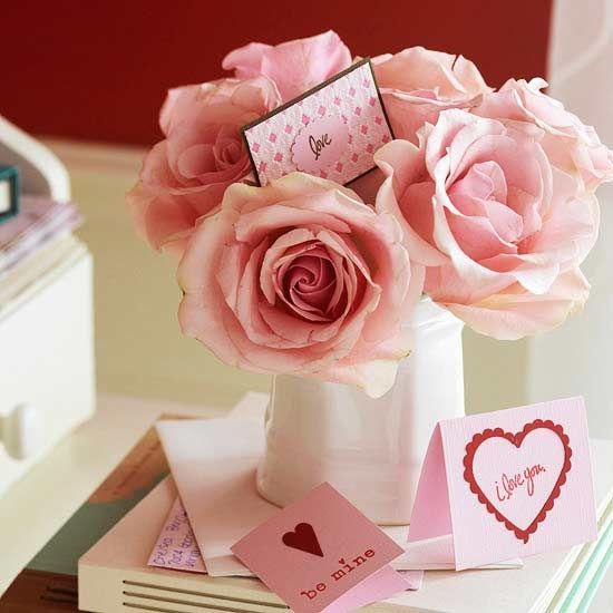 Valentines day flowers and card pictures photos and images for