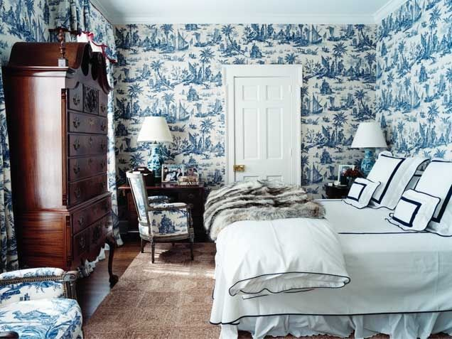 Traditional Toile Wallpaper Bedroom