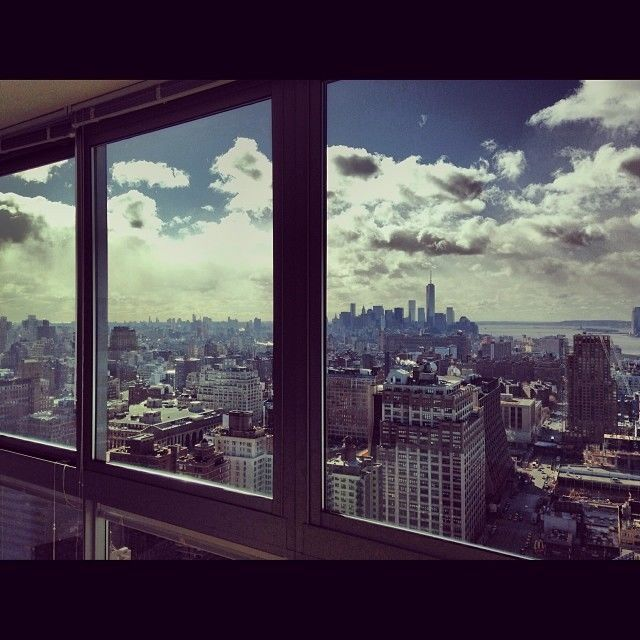 View Of New York From An Apartment Living Room Pictures Photos And