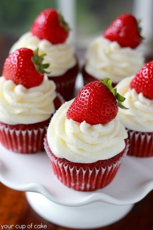 Strawberry Red Velvet Cupcakes Pictures Photos And Images For