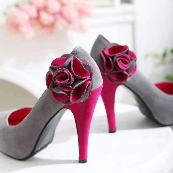 f4a97af56f6c Heels Gray With Dark Pink Flower Pictures