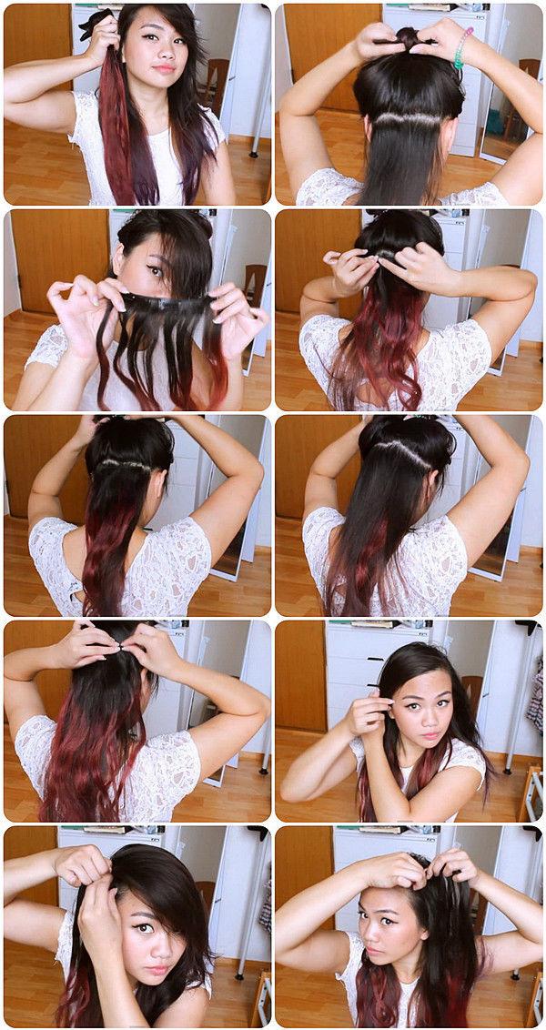 Как сделать омбре самой себе на черные волосы