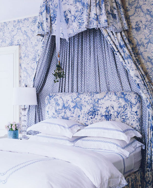 Decorating Ideas Toile Fabric: Beautiful Blue & White Bedroom Pictures, Photos, And