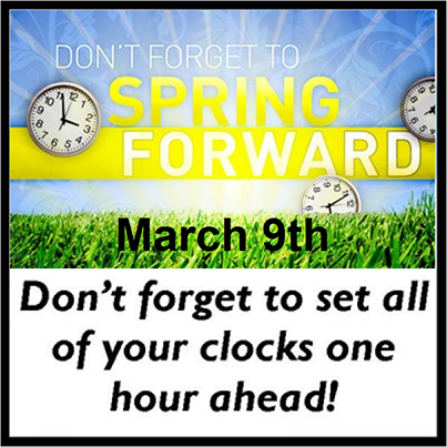 Spring Forward March 9 2014