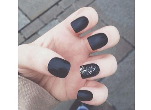 Black Matte Nails With Sparkles Pictures Photos And Images For