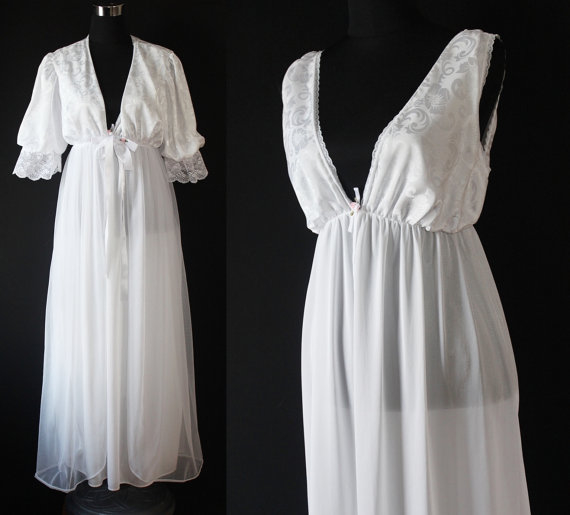 1970 Vintage White LINGERIE Housecoat set Nightgown long SLIP NEGLIGEE
