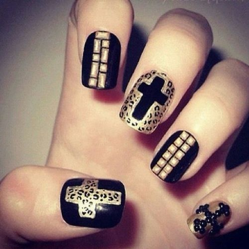 Leopard Print Cross Gold Nails Pictures Photos And Images For