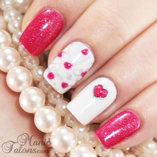 Hot Pink Glitter White Nails Pictures, Photos, and Images for Facebook