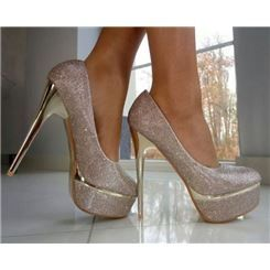 Gorgeous Silver High Heel Prom Shoes With Sequins Pictures Photos
