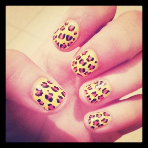 Leopard Pink And Black Nail Design Pictures Photos And Images For