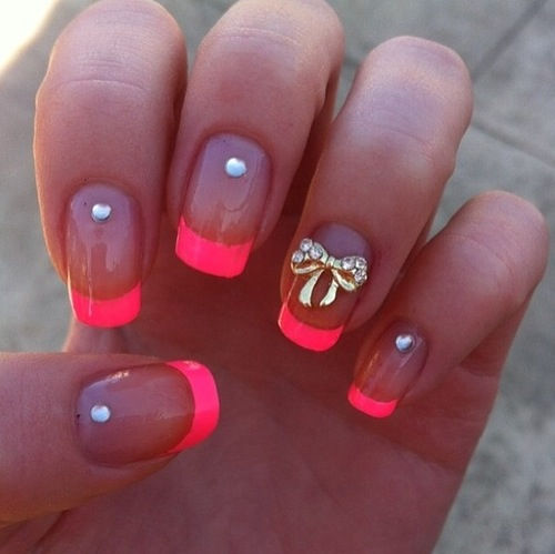 Studded Pink Tip Clear Nails Pictures Photos And Images For