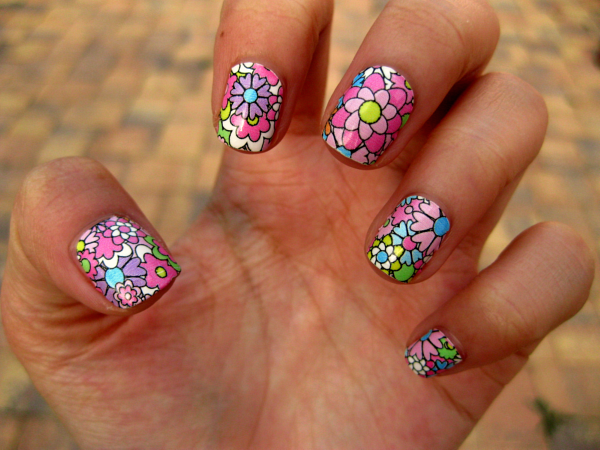 Colorful flower nail art - Colorful Flower Nail Art Pictures, Photos, And Images For Facebook