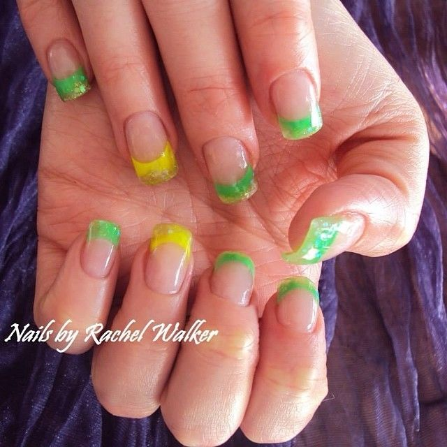 Green And Yellow Nails With Clear Polish Pictures Photos And
