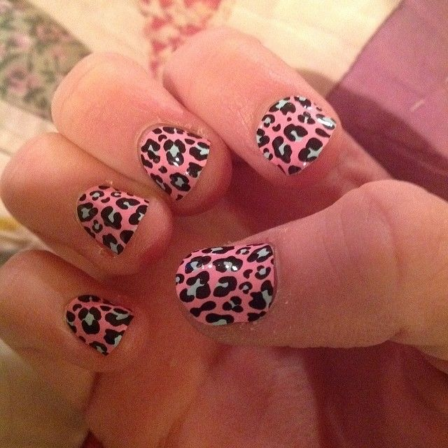 Red Leopard Print Nails Pink And Black ...