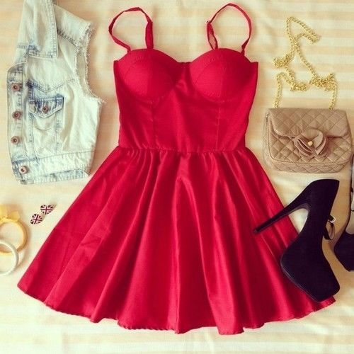 Red Summer Mini Dress With Accessories Pictures, Photos ...