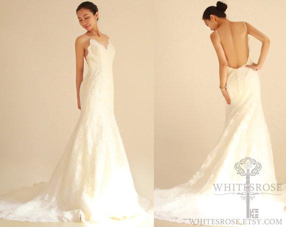 Low Back Mermaid Wedding Dress : Mermaid low back lace wedding dress bridal gown g