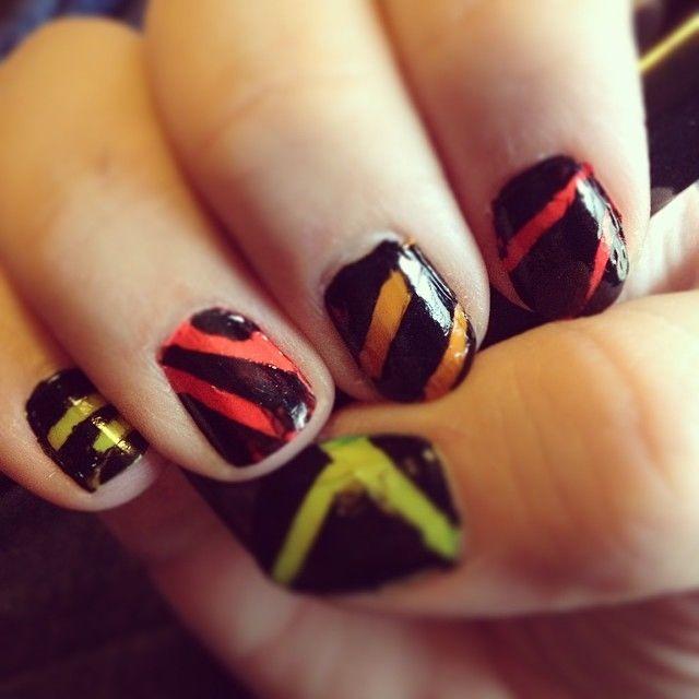 Black Neon Striped Nails