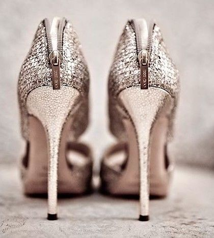 Silver Glitter Stilettos With Zippers Pictures Photos