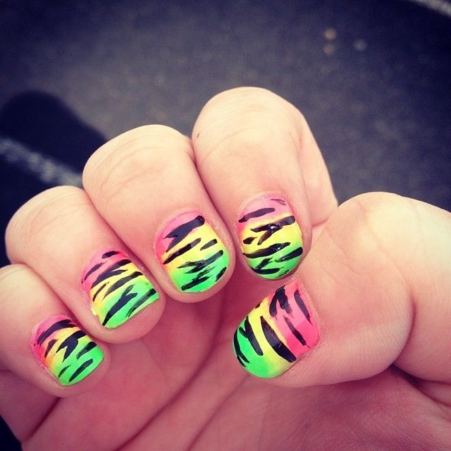 Zebra Bright Neon Nails Pictures, Photos, and Images for