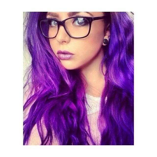 Purple Hair Girl Glasses Photos