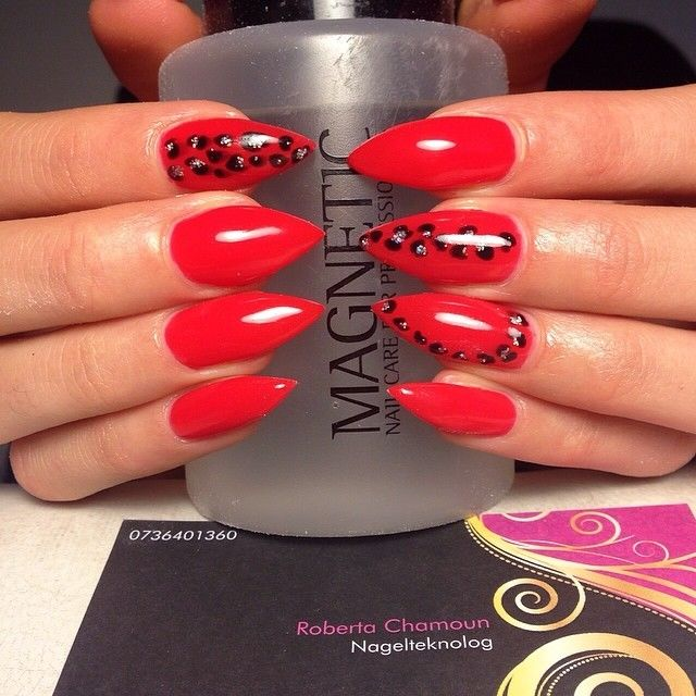 Red Leopard Print Nails Red Leopard Pri...