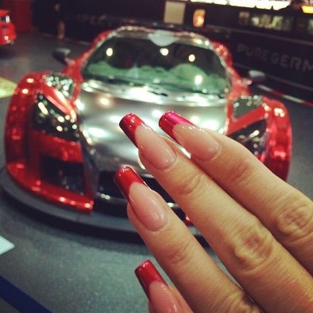 Red And Clear Long Square Nails Pictures, Photos, and Images for ...
