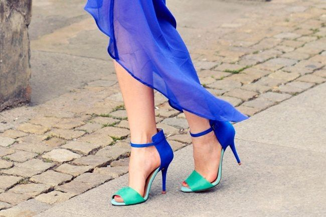 Blue &amp Green High Heel Sandals Pictures Photos and Images for