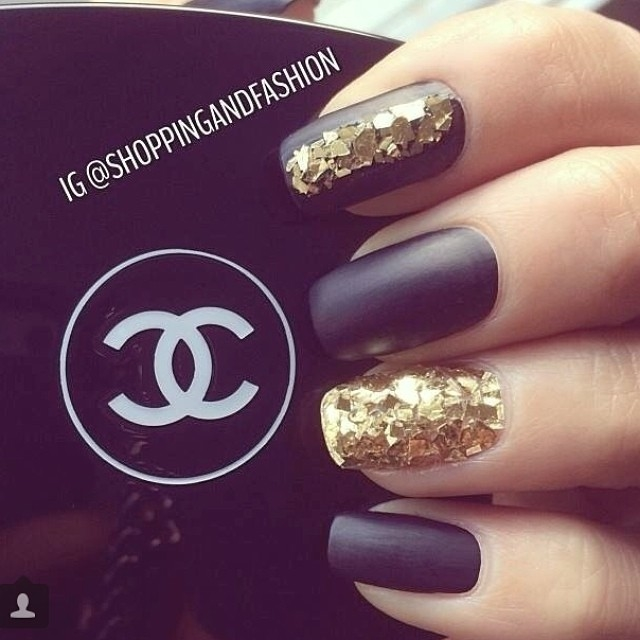 Gold glitter and black matte nails pictures photos and images gold glitter and black matte nails prinsesfo Gallery